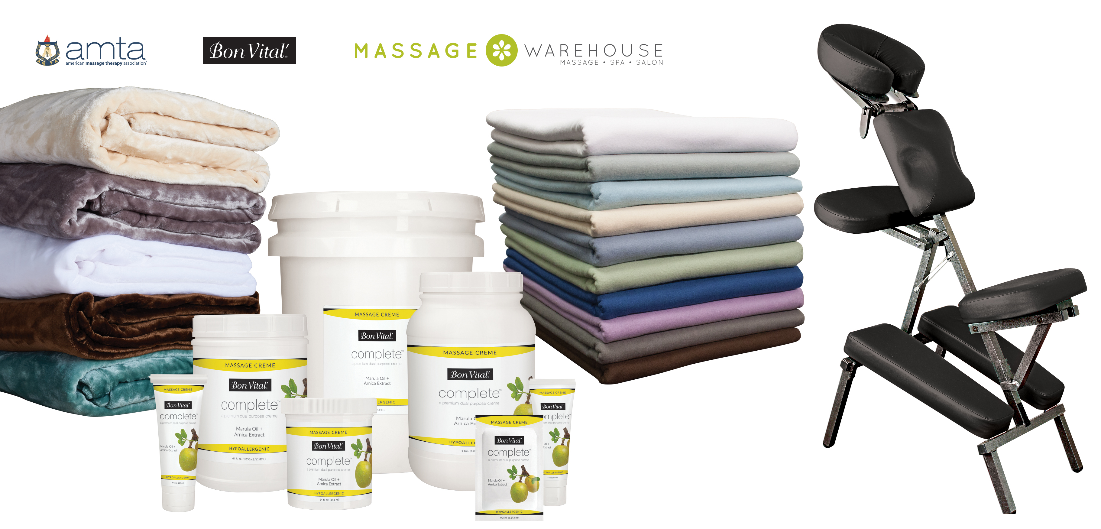 Massage Warehouse sells everything needed by massage therapists to successfully serve their clients. You can shop for supplies such as oils and lotions, equipment such as massage tables and chairs and massage tools, aromatherapy, treatment supplies, esthetic supplies and décor to improve your office's professional, relaxing ambiance.