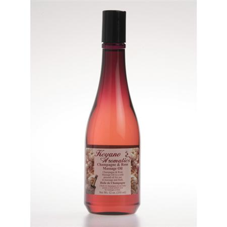 Keyano Champagne & Rose Massage Oil 12 Oz