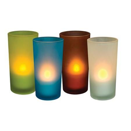 "Flameless Frosted 5"" Glass Votive Holders"