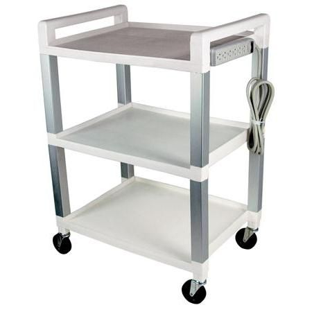 Poly Three Shelf Cart With Power Strip