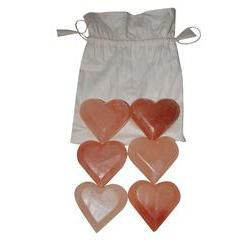 Himalayan Salt Massage Stones Hearts, Set/6
