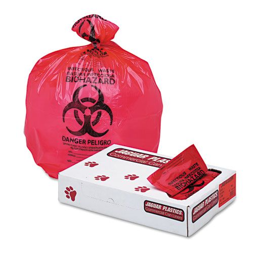 Jaguar Plastics® HealthCare Trash Can Liners 33 Gallon Red Bags 150/Carton