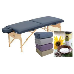 NRG® Massage Essentials Package - Portable Massage Table, Sheets & Lotion