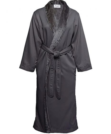 Mansfield Shimmer Lined Microfiber Robe Charcoal
