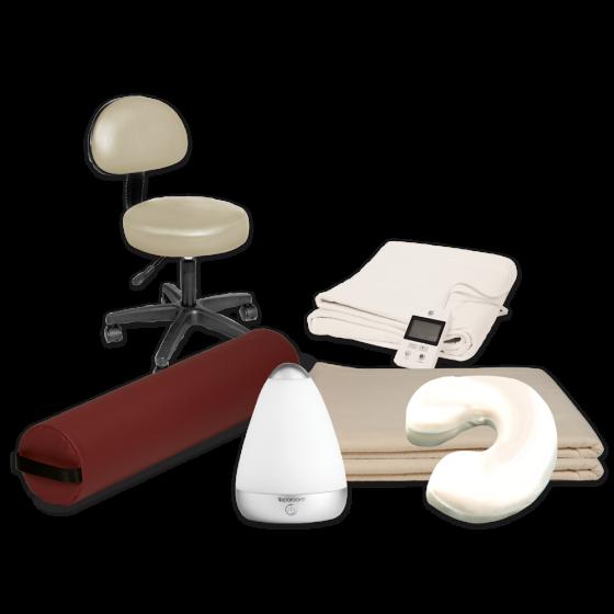 Professional Massage Bundle - Rolling Stool, Bolster, Sheets, Table Shelf & More