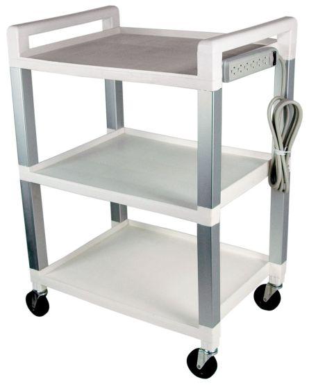 Poly Three Shelf Cart With Power Strip
