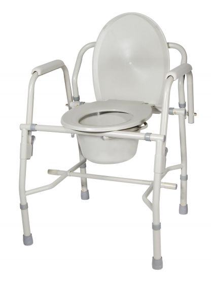 Deluxe Steel Drop Arm Commode - Commode Chair - Commode Toilet