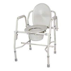 Drive Deluxe Steel Drop-Arm Commode - Bedside Commode Toilet