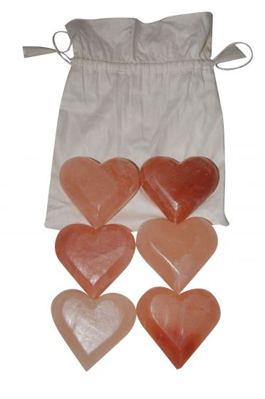 Himalayan Salt Massage Stones Hearts, Set/6