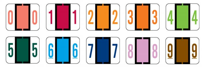 Laminated Numeric Labels, Tab/Smead Bccrn Match