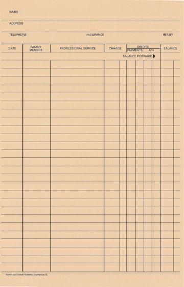 Stock Accu-Log Ledger Card Blank, 100/Pkg