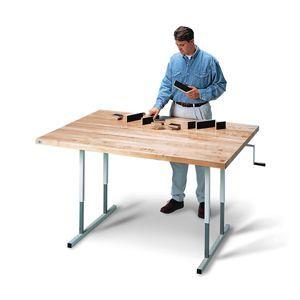 Hausmann Deluxe Crank Butcher Block Table 48