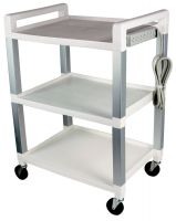 Poly Three Shelf Rolling Cart with Power Strip