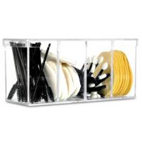 "Beauty Supply Organizer - 4 Compartments, Clear with Lid - 8""x 3"" x 3 3/4"""